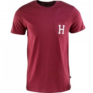 HUF Classic H Pocket Tee (burgundy / wine)