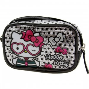 Hello Kitty Heart Glasses Sequins Camera Case (silver / pink)
