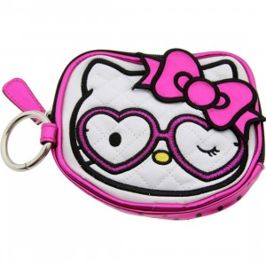 Hello Kitty Heart Glasses Coin Bag (pink / white)