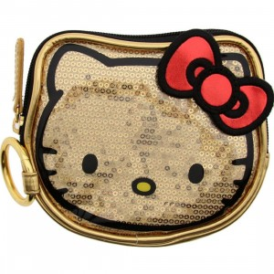 Hello Kitty Sequins Face Coin Bag (gold)