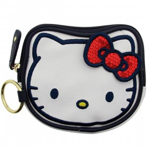 Hello Kitty Sequins Bow Coin Bag (white / red)