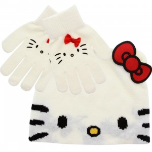 Hello Kitty Face Beanie And Glove Gift Pack (off white) 1S