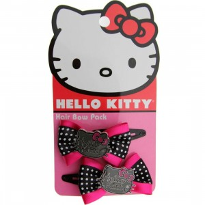 Hello Kitty Logo Hair Bow (pink / black)