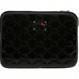 Hello Kitty Embossed Patent Laptop Case (black)