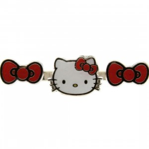 Hello Kitty Bow And Head 2 Finger Ring (white / red)