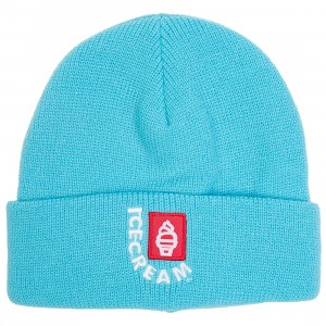 Ice Cream Header Knit Beanie (blue / baby blue)