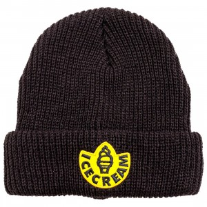 Ice Cream Rubber Knit Beanie (black)