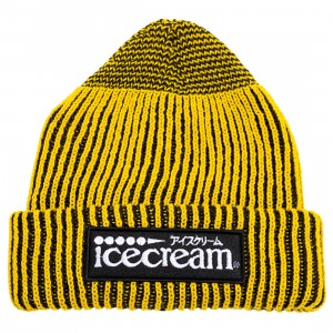 Ice Cream Dipped Knit Beanie (brown / black)