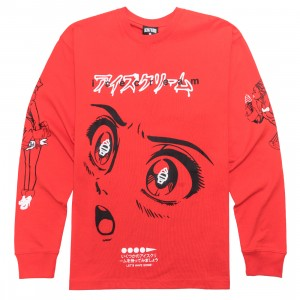 Ice Cream Men Shocked Long Sleeve Tee (red)