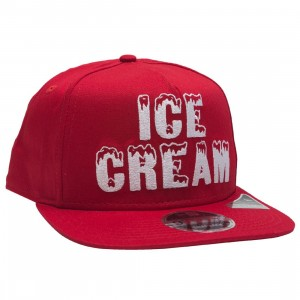Ice Cream Black Bacon Snapback Cap (red)