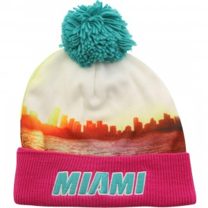 Mitchell And Ness Miami Heat Localized Knit Beanie (pink / teal)