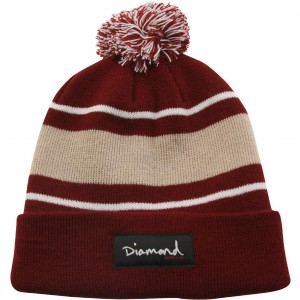 Diamond Supply Co OG Script Pom Pom Beanie (burgundy)