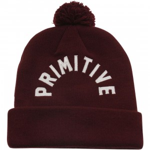 Primitive Arc Pom Beanie (red / cardinal)