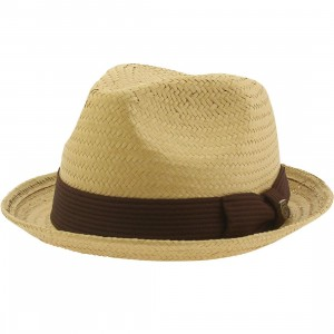 Brixton Castor Fedora Hat (tan / dark brown)