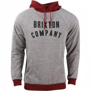 Brixton Men Barstow Hooded Fleece Sweater (gray / burgundy)
