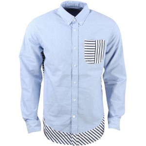 Staple Men Beta Striped Woven Shirt (blue / chambray)