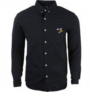 Lazy Oaf Men Bill Bird Long Sleeve Shirt (black)