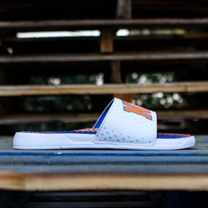 Islide x NBA New York Knicks Men Gel Slides (white / royal / orange)