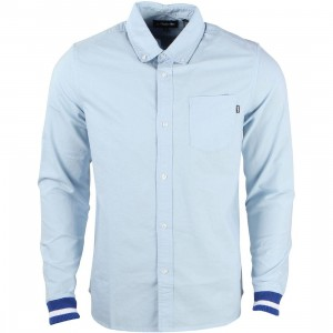 Undefeated Men Cuff Oxford Long Sleeve Shirt (blue / light blue)