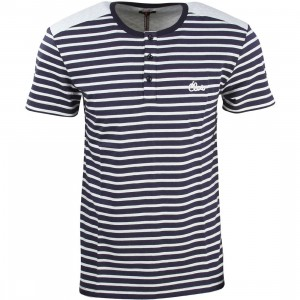 CLOT Men Quilted Border Henley Tee (navy)