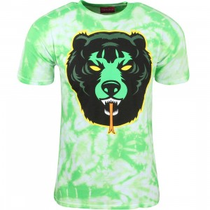 Mishka Men Death Adder Tie Die Tee (green / lime)