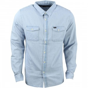 RVCA Men Fader Long Sleeve Shirt (blue / faded indigo)