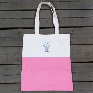 Lazy Oaf Shut Up Tote Bag (white / pink)