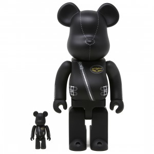 Medicom Lewis Leathers 100% 400% Bearbrick Figure Set (black)