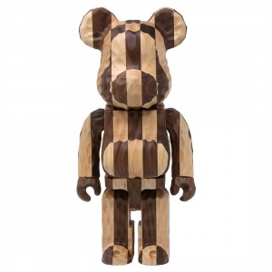 Medicom Karimoku Fragment Design Carved Wooden Longitudinal Chess 400% Bearbrick Figure (brown)