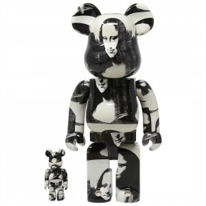 Medicom Andy Warhol Double Mona Lisa 100% 400% Bearbrick Figure Set (white)