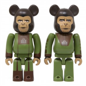 Medicom Planet Of The Apes Cornelius And Zira 100% Bearbrick Figure 2 Pack Set (green)