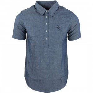 Diamond Supply Co Men Serif Short Sleeve Chambray Shirt (navy)