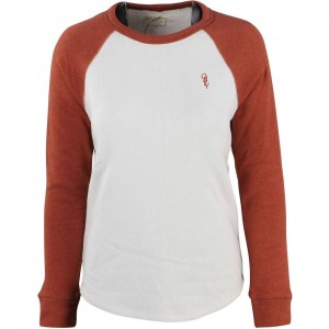 Obey Women Lofty Mountain Baseball Crewneck (brown / moonbeam / brick)
