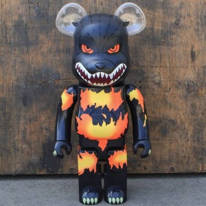 Medicom Godzilla 1000% Bearbrick Figure - Desgodzi Burning Ver. (gray / red)