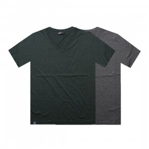 K1X Double Impact V-Neck Tees (dark grey heather / forest)