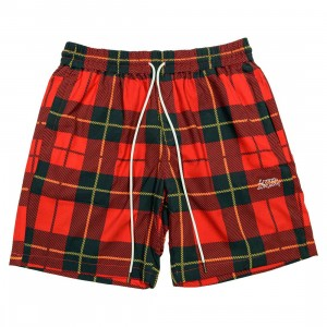 Lifted Anchors Men Ocean Plaid Shorts (red)
