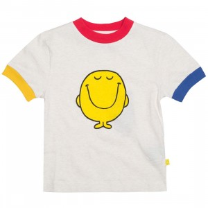 Lazy Oaf x Mr Men Women Mr Happy Color Block Tee (white)