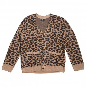 Lazy Oaf Men Hairy Leopard Cardigan (brown / leopard)