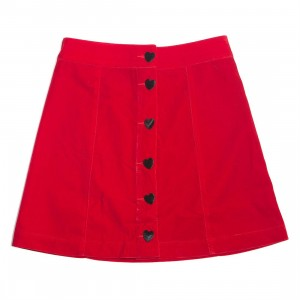 Lazy Oaf Women Heart Button Velvet Skirt (red)