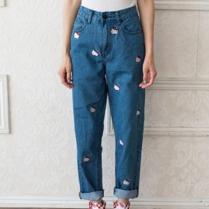 Lazy Oaf X Hello Kitty Women Emb Jeans Blue (Denim)