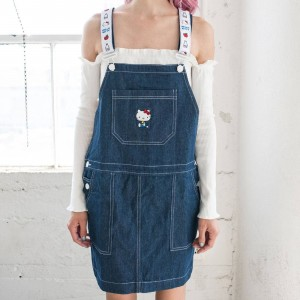 Lazy Oaf X Hello Kitty Women Pinny Dress Blue (Denim)