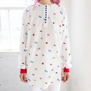 Lazy Oaf X Hello Kitty Women Oversized Waffle Tee (White)