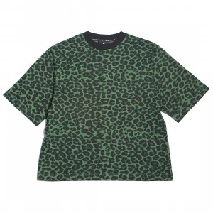 Lazy Oaf Women Not Here Leopard Tee (green)
