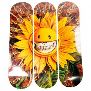 MINDstyle x Ron English Sunflower Skateboard Set of 3 Decks (yellow)