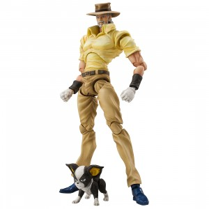 PREORDER - Medicos Super Action Statue JoJo's Bizarre Adventure Part 3 Stardust Crusaders Joseph Joestar And Iggy Chozokado Figure Re-Run (yellow)