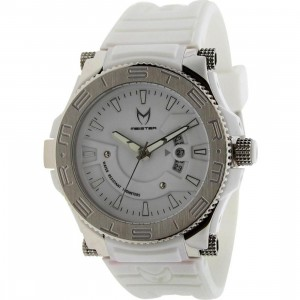 Meister Prodigy Stainless Watch (white/ silver / white rubber band)