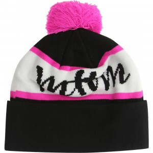 Married To The Mob MTTM Script Knit Pom Pom Beanie (black)