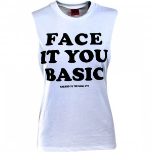 Married To The Mob Women Face It Muscle Tee (white)