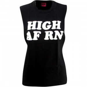 Married To The Mob Women High RN Muscle Tee (black)