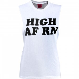 Married To The Mob Women High RN Muscle Tee (white)